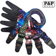 New Guitar strap adjustable end polyester printed  skull and a variety of electric bass guitar strap belt S008 51-55