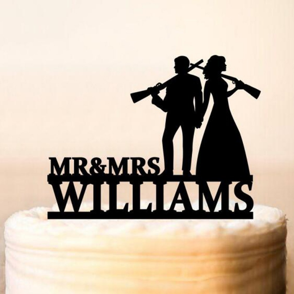 Gun Wedding Wedding Cake Topper Rifle Armed Couple Silhouette Cake Topper Home Garden Wedding Cake Toppers Ayianapatriathlon Com