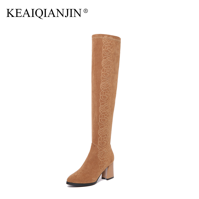 KEAIQIANJIN Woman Genuine Leather Over The Knee Boots Embroider Plus Size 33 - 41 Winter Shoes Genuine Leather High Heels Boots