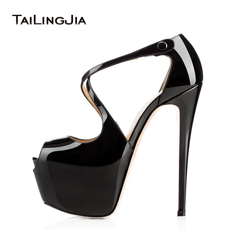 Ultra High Heels Women Shoes Peep Toe Platform Pumps 2019 Stripper Shoes Woman Sandals Stiletto Heel Sandal Platforms Large Size