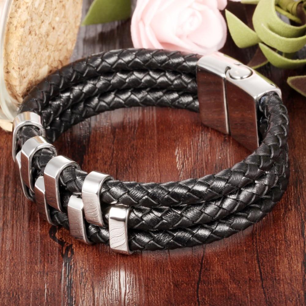 TrustyLan Black Leather Men Bracelet Male Simple Style Retro Braided Wrap Mens Bracelets 2018 With Magnet Buckle Clasp Jewelry