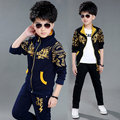 2016 новых мальчик комплект одежды мальчик спортивный костюм комплект детей мода шаблон верхняя одежда пальто спортивный костюм одежды куртка + брюки