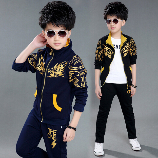 2016 New Wear Baby Boy Clothing Set Boy Sports Suit Set Children Fashion Pattern Outerwear Coat Tracksuit Clothes Jacket+Pant