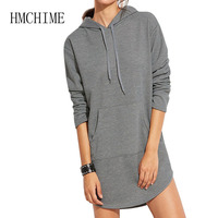 Loose Female Sweatshirt With Pockets 2018 Autumn Winter Female Long Outerwear Hooded Hoodies With Drawstrings Pullover Coats
