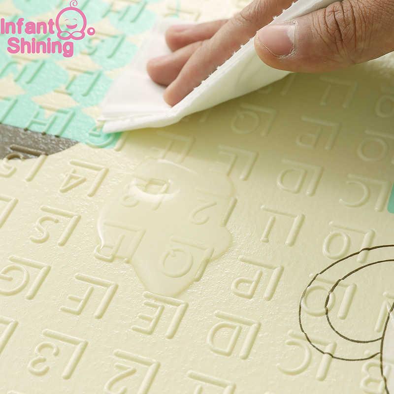 Детская блестящая 1,5 см Толстая Детская мозаика игровой коврик складной детский коврик для игры 200*180 см большой ползающий ребенок коврик одеяло паззл игровой коврик