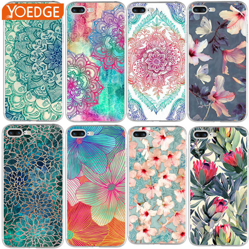 f5549cf23 ... 5 5S SE 5C 6 6S 7 Plus X 8 · Shell For Apple iPhone 4 4S 5 5S SE 5C 6 6S  7 Plus X 8 silicone Back Cover Printing Mandala Flower Datura Floral Cell  Cases