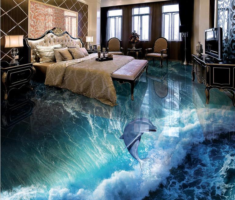 3d Floor Wallpaper Murals Custom 3d European Floor Wallpaper Dolphin Waves 3d Floor