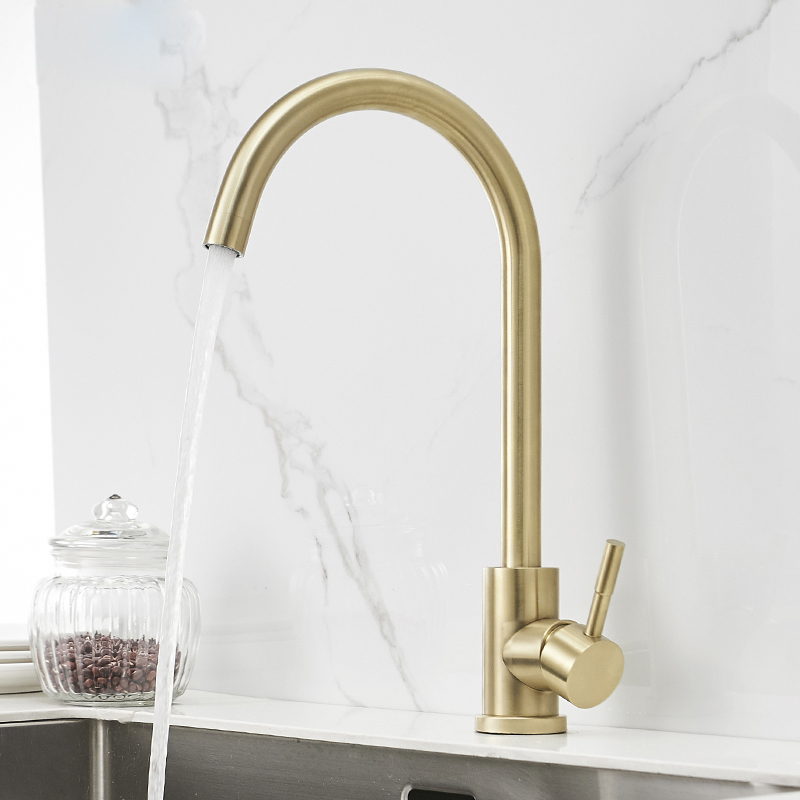 Kitchen Faucet Brushed Gold Brass Kitchen Sink Faucet Copper Swivel Kitchen Sink Mixer Tap Crane Faucet Hot Cold Cocina Torneira