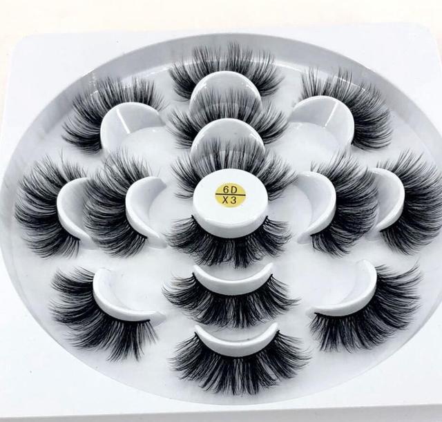 Satış öncesi! 7 pairs doğal yanlış eyelashes takma kirpik uzun makyaj 3d vizon kirpiklere takma kirpik vizon kirpik güzellik için