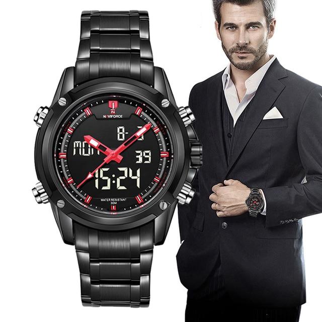 NAVIFORCE Deporte Reloj de Los Hombres relogio masculino Relojes Para Hombre de Primeras Marcas de lujo Reloj Militar Digital Completa de Acero Reloj de pulsera de Cuarzo