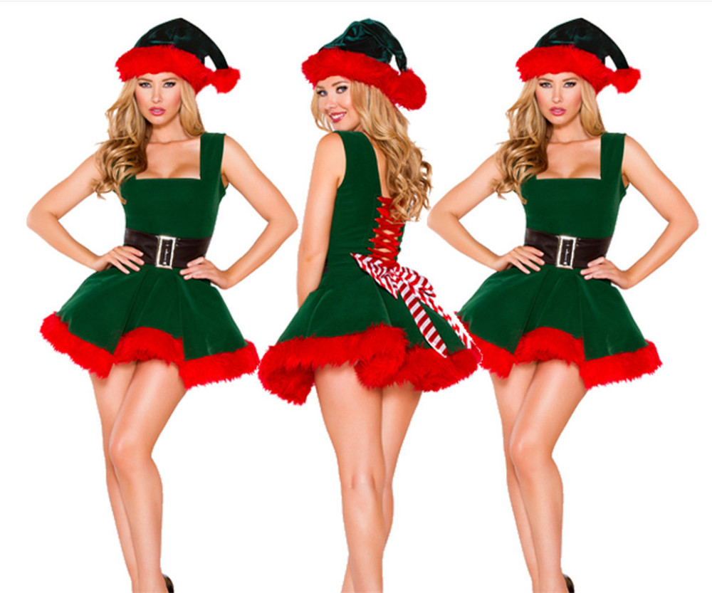 new Christmas Sexy Dress Women Christmas Green elf Costume For Adult green Velvet Fur Dresses Hooded Female Santa Claus Costume