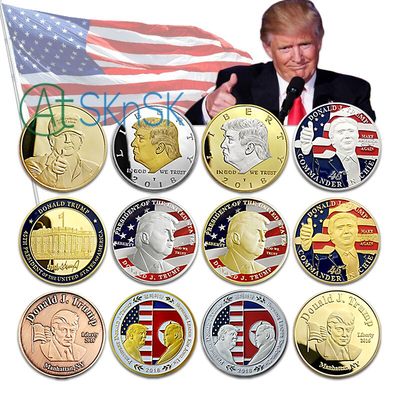 13 Options 1PCs Sample Presidential Challenge Coin Donald Trump Kim Jong-Un Silver/Gold Plated Commemorative Coins Collectibles