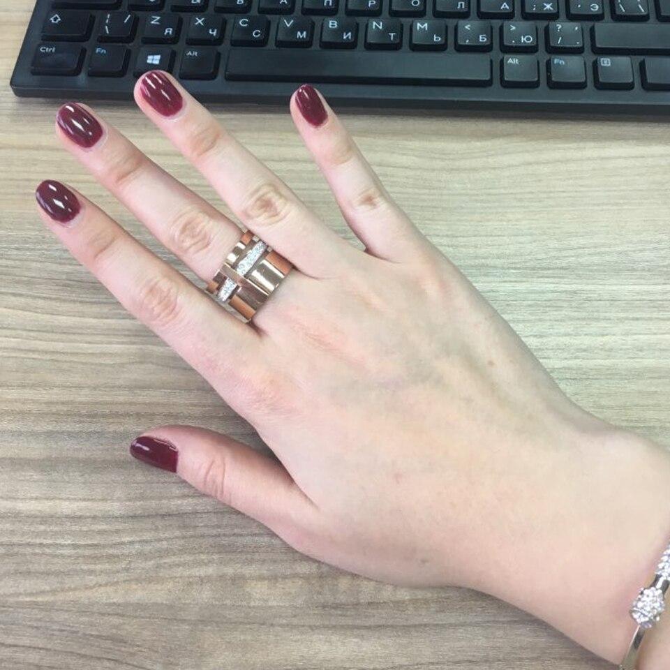 Złoty Kolor Cyrkon Kryształ Tytanu Pierścienie Ze Stali - Modna biżuteria - Zdjęcie 5