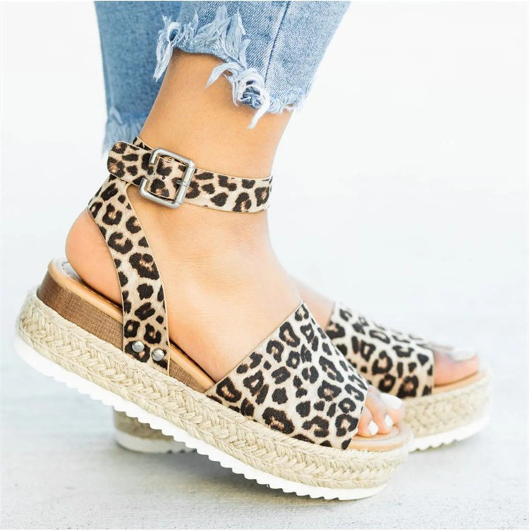 HTB1Oq02N3HqK1RjSZFPq6AwapXak 2019 Summer Womens Casual Espadrilles Trim Rubber Sole Flatform Studded Wedge Buckle Ankle Strap Open Toe Sandals