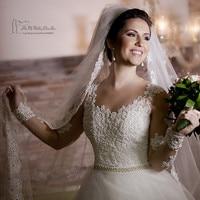 Vestido de Noiva Manga Longa Romantic Lace Wedding Dress 2016 Long Sleeve Bridal Dresses Crystal Belt Pearls Wedding Gowns Tulle
