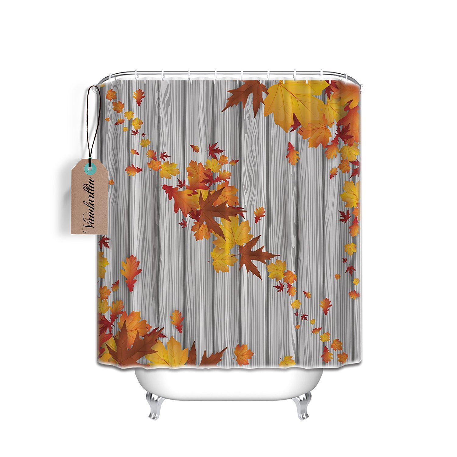 Fall Maple Leaves Rustic Wood Mildew Resistant Fabric Shower Curtain Set 72x84 Extra LongBathroom Accessories