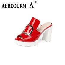Aercourm a/2017 Женские босоножки Высокое качество Натуральная кожа удобные летние Сандалии женщины Slip-On красные, черные босоножки на высоком каблуке