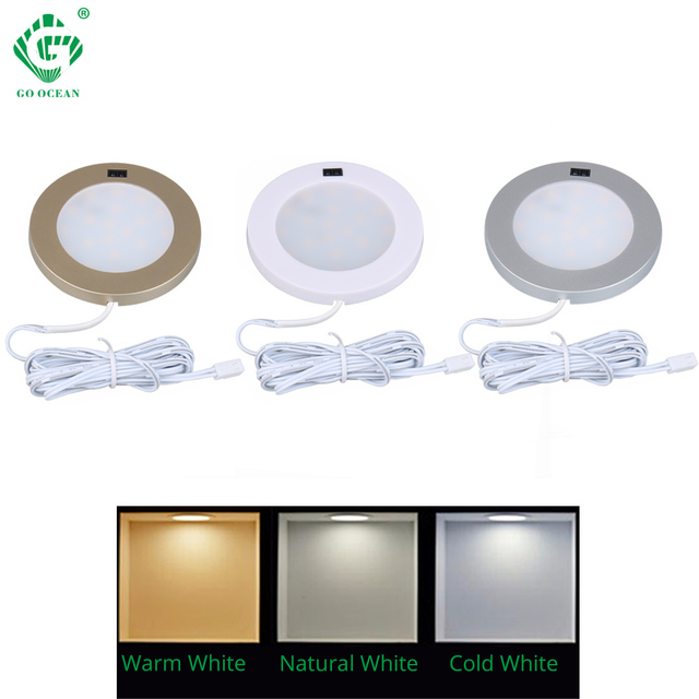 Under Cabinet Lights Motion Sensor PIR Closet Kitchen LED Night Light 12V Puck Cupboard Furniture Showcase Round Wardrobe Lamp