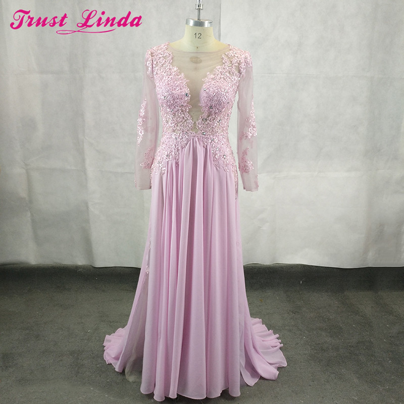 Elegant Long Sleeves A Line Scoop Neck Chiffon Appliques Beads Long Mother Dresses 2018 Robe De Soiree Manche Longue Prom Gowns
