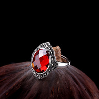New Arrivals Red Gem Ring Women's Real Silver Ring Retro S925 Sterling Silver Red Gem Silver Ring