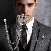 Crystal Crown Brooch Collar Chain For Men And Women