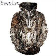 ผู้หญิง/ผู้ชาย 3D นกฮูกพิมพ์ Hoodie ฤดูหนาว Casual Pullover Hooded เสื้อแขนยาวเสื้อผ้าแฟชั่น Tracksuits สัตว์ Streetwear