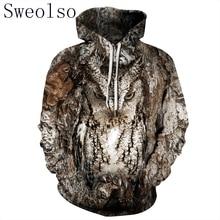 נשים/גברים 3D ינשוף הדפסת הסווטשרט החורף מזדמן סוודר ברדס ארוך שרוול סווטשירט בגדי אופנה אימוניות בעלי החיים Streetwear