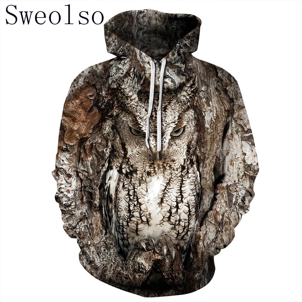 Women/Men 3D Owl Print Hoodie Winter Casual Pullover Hooded Long Sleeve Sweatshirt Clothing Fashion Tracksuits Animal StreetwearHoodies & Sweatshirts   -