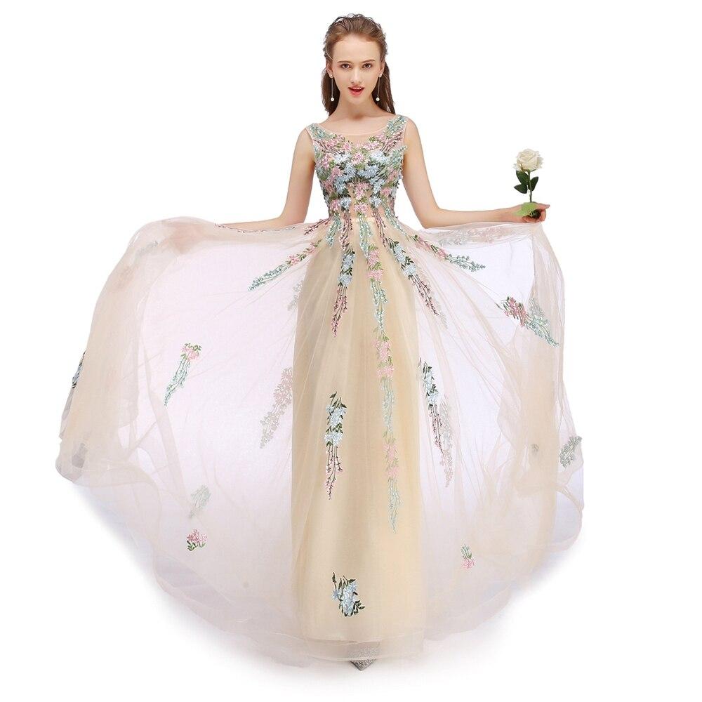 SSYFashion 新シャンパンレース刺繍ロングイブニングドレス花嫁の宴会エレガントなノースリーブ床の長さウエディングパーティードレス  グループ上の ウェディング & イベント からの イブニングドレス の中 3