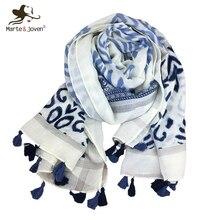 ФОТО marte&joven blue totem printing scarves tippet for women soft warm sping/autumn elegant ladies long shawl pashmina tassels scarf