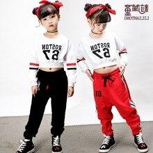 Niños moderno street dance set de manga larga Niñas Ropa de Danza Jazz hip- hop traje de danza rendimiento ropa 45b0417e32f
