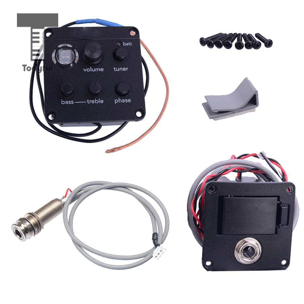 Tooyful 1 Set Guitar EQ Equalizer Pickup Onboard Preamp Tuner Pickup ISYS+ for Acoustic Guitar Accessory cherub acoustic guitar preamp gs 3 four 4 band eq with phase and lcd chromatic tuner acoustic guitar pickup guitar pick holder