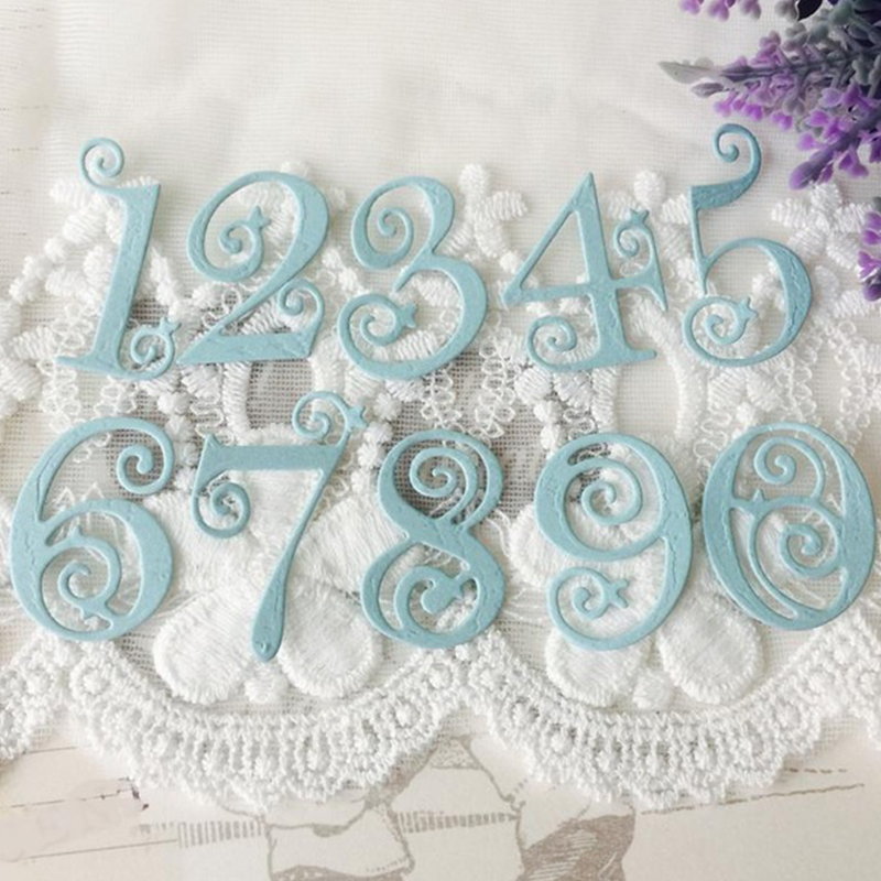 2018 10pcs Circle Lace Numbers Metal Cutting Dies Scrap booking Craft Stamps die Cutter Stencil Frame Embossing Card x