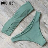 RUUHEE Bikini Swimwear Women Swimsuit Solid Sexy Bandeau Bikini Set Bathing Suit 2018 Female Beachwear Swimming