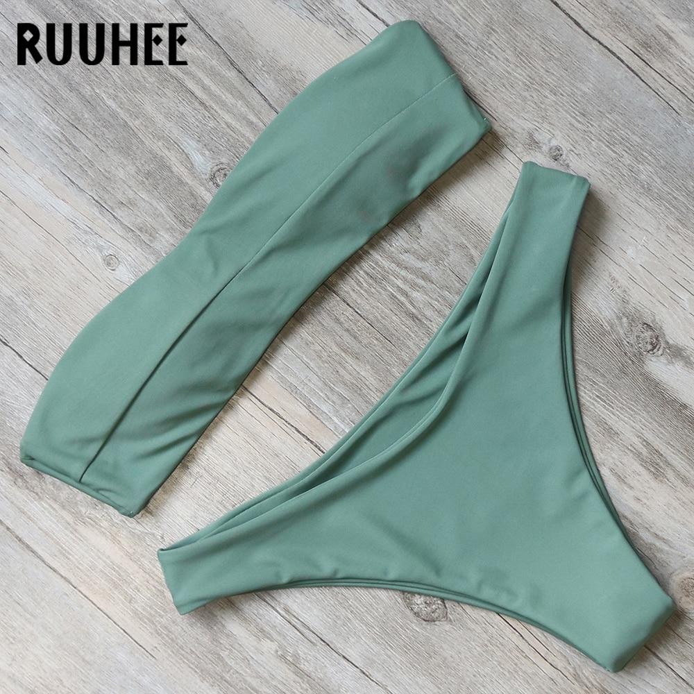 RUUHEE Bikini Swimwear Women Swimsuit Solid Sexy Bandeau Bikini Set Bathing Suit 2018 Female Beachwear Swimming Suit With Padded
