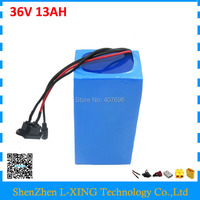 500W 36V 13AH lithium ion battery 36V Electric bike scooter battery 13ah use 3.7V 2600mah cells 15A BMS Free customs fee
