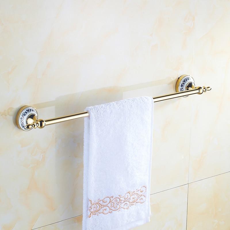 Vintage Ceramic Towel Bar: Antique Gold Plate Towel Bar European 50cm Ceramic Base