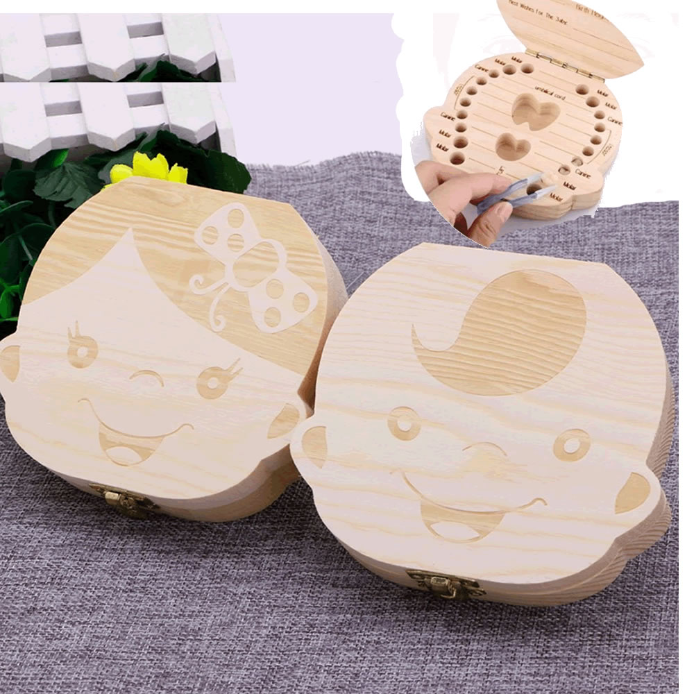 Kids Tooth Box Organizer Baby Save Milk Teeth Wood Storage Box For Boy/&Girl