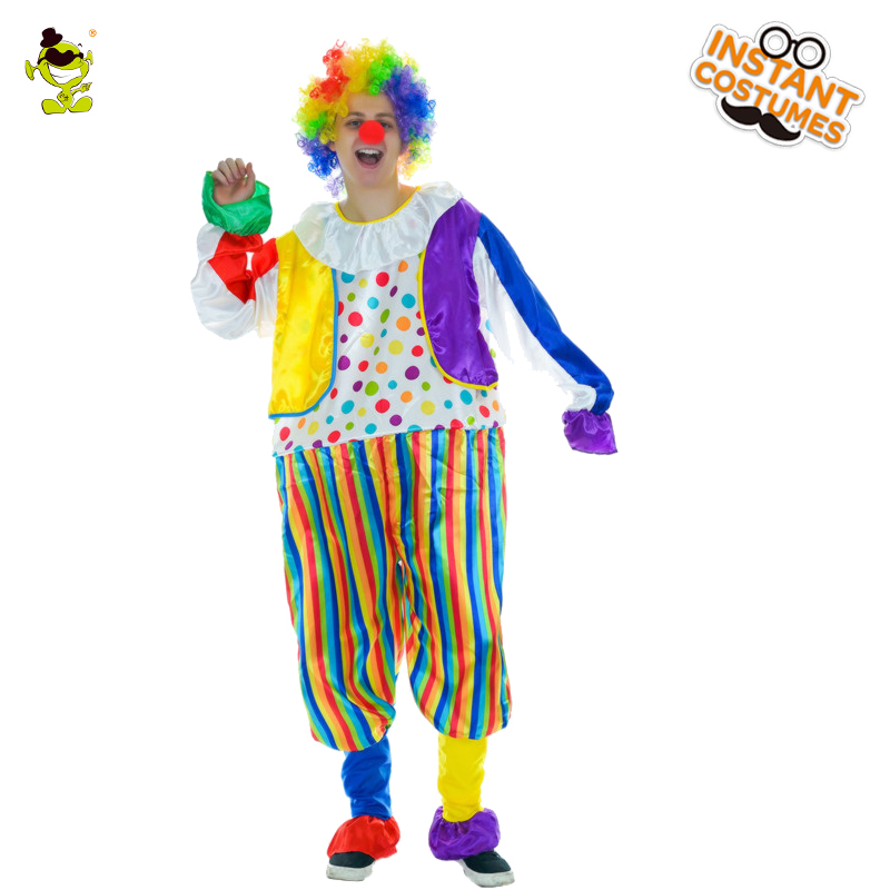 New Hot Funny Clown Costumes With Jumpsuit & wig  Adult Man Buffon Clothes Costume Fanccy Dress For Joker Clown Party Costume