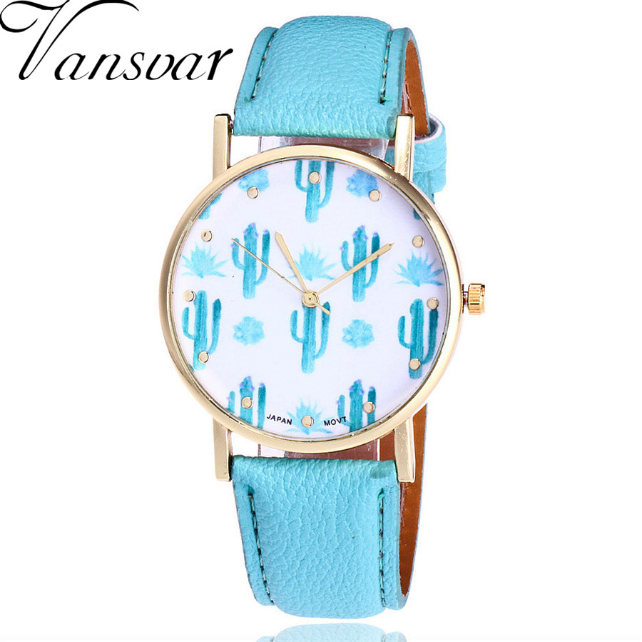 Vansvar Brand Fashion Cactus Watch Casual Women Wrist Watches Vintage Leather Quarzt Watches Relogio Feminino Drop Shipping V78
