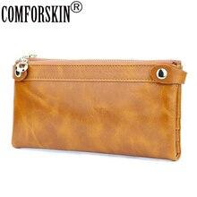 Купить с кэшбэком COMFORSKIN Brand Design Ladies Clutch Wallets Premium Genuine Oil Waxing Leather Middle-Long Style Multi-Card Bit Women Wallets