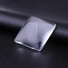 JUYA 30mm 25mm Handmade Square Transparent Clear Glass Cabochon Woven Jewelry Accessories Carfts Supplies for Necklace Making