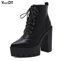 New 2017 Autumn Classic Women Boots Fashion Motorcycle Boots Ladies Lace Up Boots High Heels Shoes