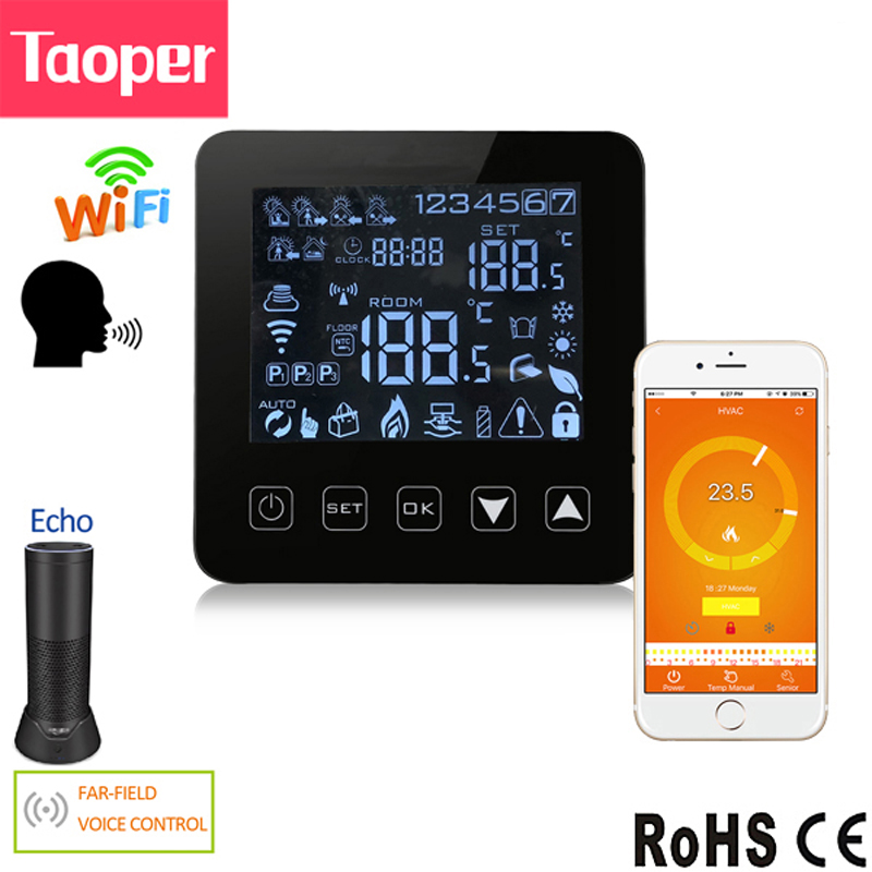 WiFi Programmable Thermostat Echo Alexa Voice Control Water Floor Heating Room Temperature Control 3A 100 240V