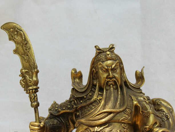 "Scy s0524 16 ""Китайский Медь стенд Дракон нож Гуань Гун Юй Воин Бог Статуя рыцаря"