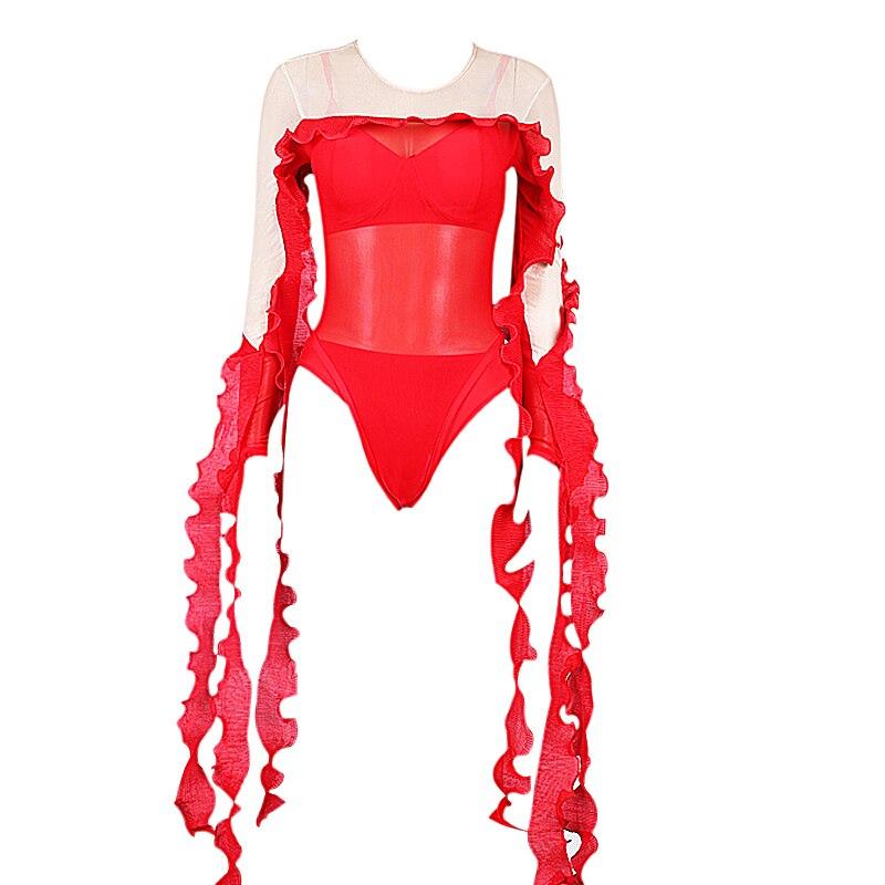 Jazz scène Costume femmes DJ body Pole danse combinaison rouge gland Performance vêtements pour discothèque chanteurs danseurs DC1020