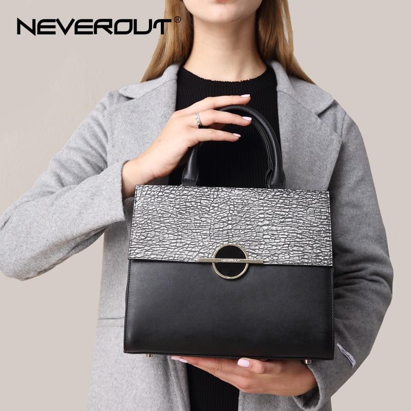 NEVEROUT Fashion Handbags Women Split Leather Brand Design Stone Theme Bag Top-Handle Shoulder Bags High Quality Tote Handbag
