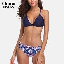 купить Charmleaks Women Bikini Set Vintage Floral Print Swimwear  Sexy Back Strappy Bathing Suit Beachwear дешево