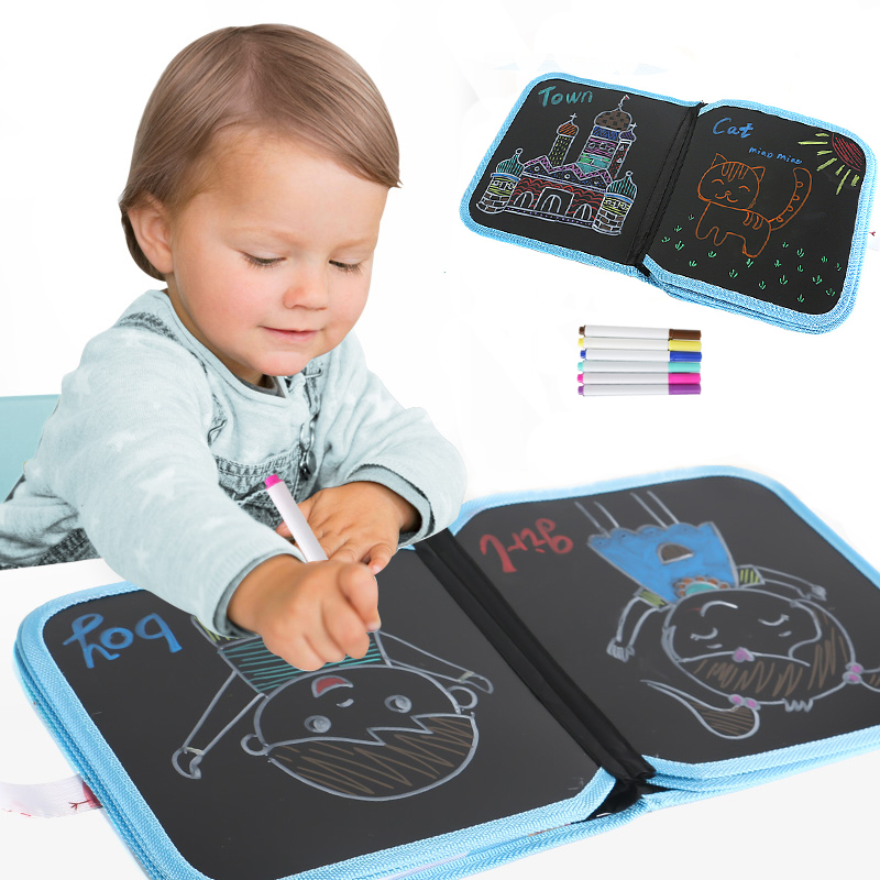 14 Sides Portable Chalk Board Drawing Book Toys DIY Blackboard Painting Drawing Board Kids Early Education Toy With 12 Chalks