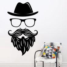 Vinyl Wall Decal Modern Face Sticker Removable Poster Moustache Hair Beauty Salon Man Shop Decor AY568